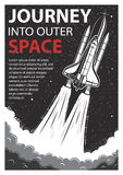 Vintage space poster with shuttle Royalty Free Stock Photos