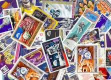 vintage space stamps Stock Photos