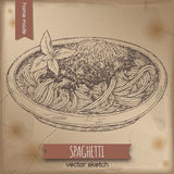 Vintage spaghetti Bolognese template placed on old paper background. Great for market, restaurant, cafe, food label design Royalty Free Stock Images