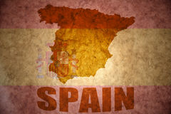 Vintage spain map. Spain map on a vintage spanish flag background Stock Images