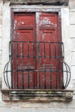 Vintage Spanish colonial doors and windows in Camaguey, Cuba. Unesco World Heritage Site Royalty Free Stock Images