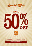 Vintage Special Offer Design. A vintage poster design for a 50% off sale Stock Photography
