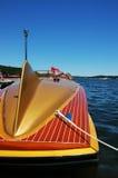Vintage Speedboat. Antique speedboat tied up at the dock Stock Image