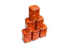 Vintage spice boxes Stock Photos