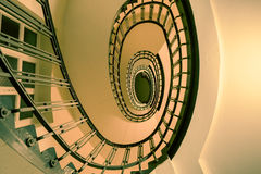 Vintage spiral Staircase. In a multiple family dwelling Stock Photography