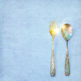 Vintage spoon and fork Royalty Free Stock Image