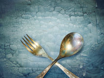 Vintage spoon and fork Royalty Free Stock Photography