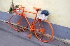Vintage sport bike colored orange side view Stock Photo