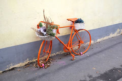 Vintage sport bike colored orange side view Stock Photography