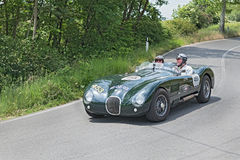 Vintage sport car Jaguar runs in Mille Miglia 2014 Royalty Free Stock Image