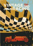 Vintage sport car racing. Vintage sport racing car poster Stock Photos