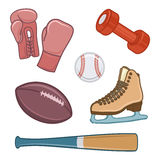 Vintage sport equipment. Hand drawn icons set Stock Photography