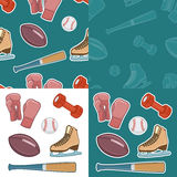 Vintage sport equipment. Hand drawn icons set Royalty Free Stock Photography