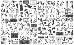 Vintage Sport Games Icons Set. With baseball rugby equestrian golf basketball tennis soccer paintball cricket elements isolated vector illustration Stock Images
