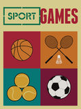 Vintage sport games poster. Basketball, badminton, football, tennis. Retro vector illustration. Royalty Free Stock Image