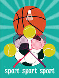 Vintage sport games poster. Basketball, badminton, football, tennis. Retro vector illustration. Royalty Free Stock Images