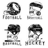 Vintage sport grunge vector labels set skulls Royalty Free Stock Photos