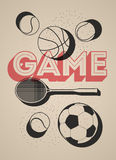 Vintage sport poster with basketball, football, tennis balls and racket. Retro vector illustration. Royalty Free Stock Photo