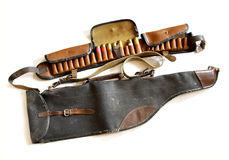 Vintage sporting cartridge belt and shotgun bag Royalty Free Stock Image