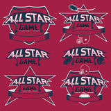 vintage sports all star crests with american football the Stock Photo