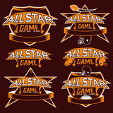 Vintage sports all star crests with american football the Stock Photography