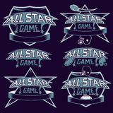 vintage sports all star crests with american football the Royalty Free Stock Image