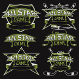 vintage sports all star crests with hockey theme Royalty Free Stock Photography