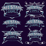 Vintage sports all star crests with hockey theme Royalty Free Stock Photos