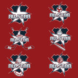 Vintage sports all star crests Royalty Free Stock Image