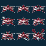 Vintage sports all star crests Stock Images