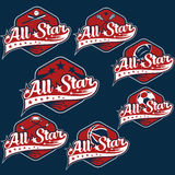 Vintage sports all star crests Royalty Free Stock Images