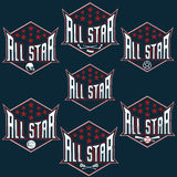 Vintage sports all star crests Stock Photography