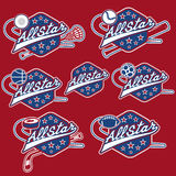 Vintage sports all star crests Stock Image