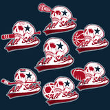 vintage sports all star crests with skulls Stock Photography