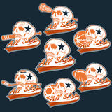 Vintage sports all star crests with skulls Royalty Free Stock Photography