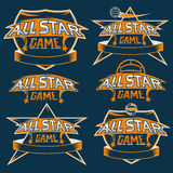 Vintage sports all star crests with soccer theme Royalty Free Stock Photography