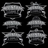 vintage sports all star crests with soccer theme Stock Image