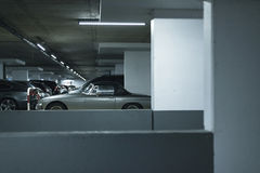 Vintage sports car on parking lot in garage. Vintage sports car on parking lot in a garage Royalty Free Stock Photo