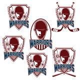 Vintage sports clubs with warrior face Royalty Free Stock Image