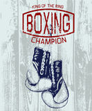 Vintage sports label with boxing gloves Stock Image