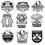 Vintage sports logo design. Retro baseball vector label and badges Royalty Free Stock Photos