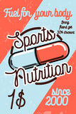 Vintage sports nutrition poster Royalty Free Stock Image