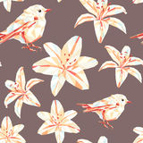 Vintage spring colorful polygon flower bird pattern Stock Photo