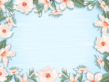 Spring floral background. Vintage spring floral background.Border with cherry blossom flowers on background of wooden blue boards. Vector illustration Stock Photo
