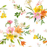 Vintage Spring Flowers Background - Seamless Floral Lily Pattern Royalty Free Stock Photos