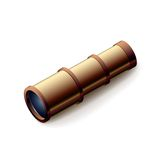 Vintage spyglass, closeup isolated on white Royalty Free Stock Images
