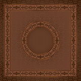 Vintage  square  card on damask seamless backgroun Royalty Free Stock Image