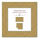Vintage square 3D frame geometry cross tracery line. Retro style template ideal for invitation or greeting card design Stock Photo