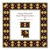 Vintage square 3D frame polygon aboriginal geometry cross. Retro style template ideal for invitation or greeting card design vector illustration