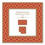 Vintage square 3D frame round dot line cross tracery. Retro style template ideal for invitation or greeting card design Royalty Free Stock Photography